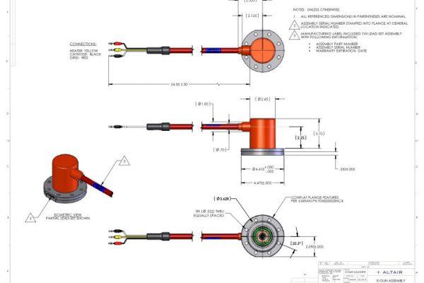 Electron Gun A102414 dimensions, Altair Technologies-USA