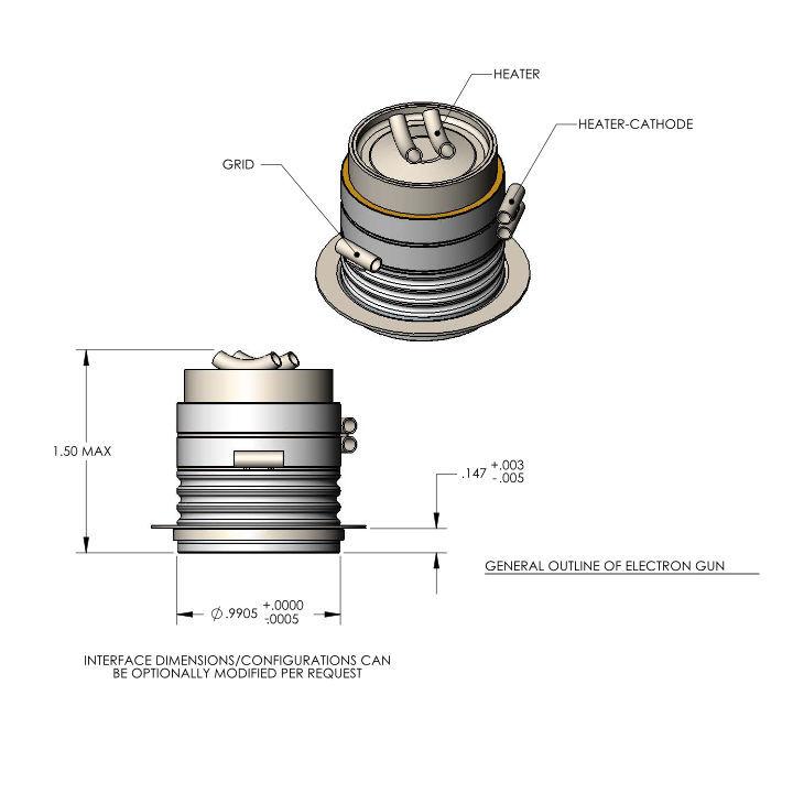 Electron Gun A101595 dimensions, Altair Technologies-USA