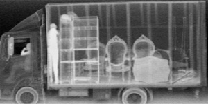X-Ray Scan of Cargo in truck at cross-border Security Inspection